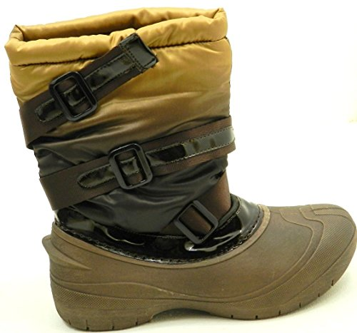 Women Latest Winter Fasion Fur Water Proof Rain Snow Boot Shoes Brown Buckle nwnfD