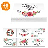 Powcan 48 Pack Thank You Cards with Envelope Flower Thanks You Notes Greenting Cards Set - Suitable for All Occasions