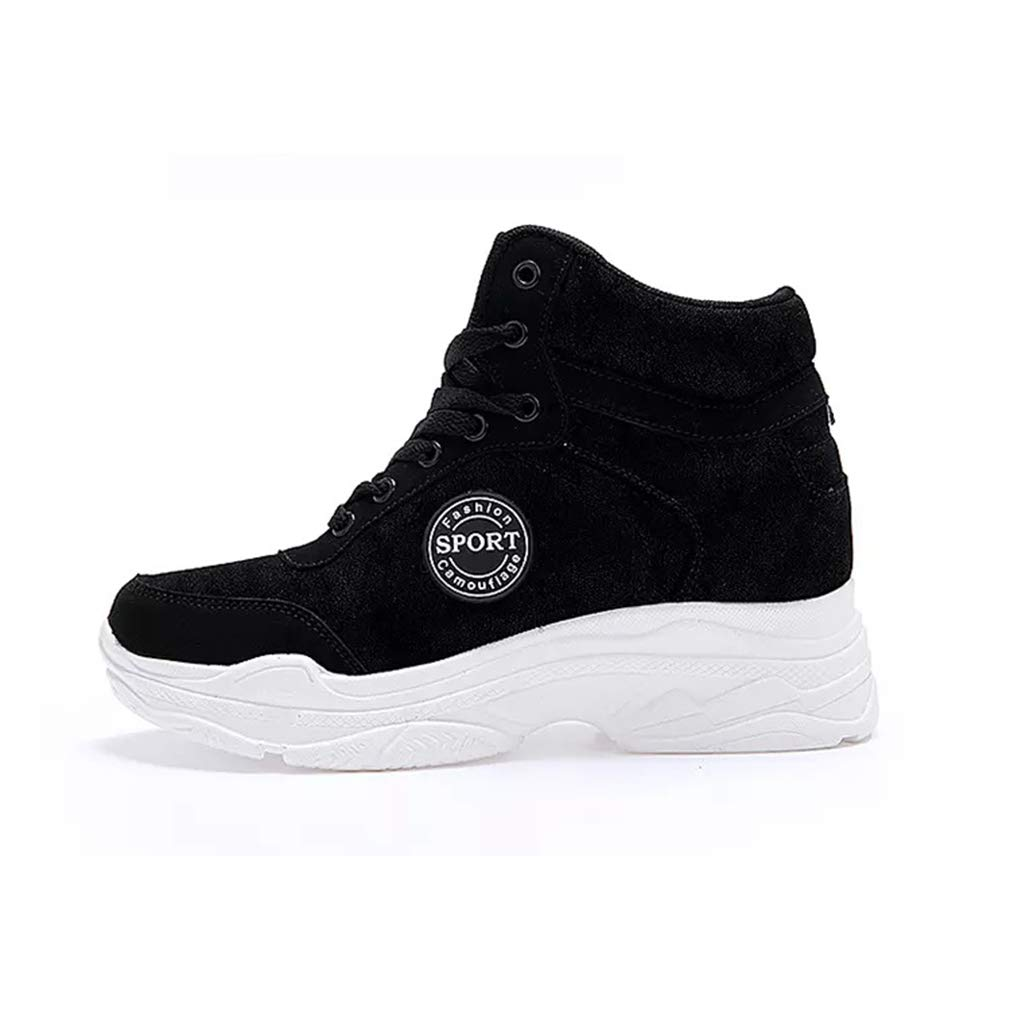 YXB Damenplattform Schuhe Neue 2019 Fashion Turnschuhe PU Casual Invisible Heightening schuhe Shallow Athletic schuhe schwarz 37