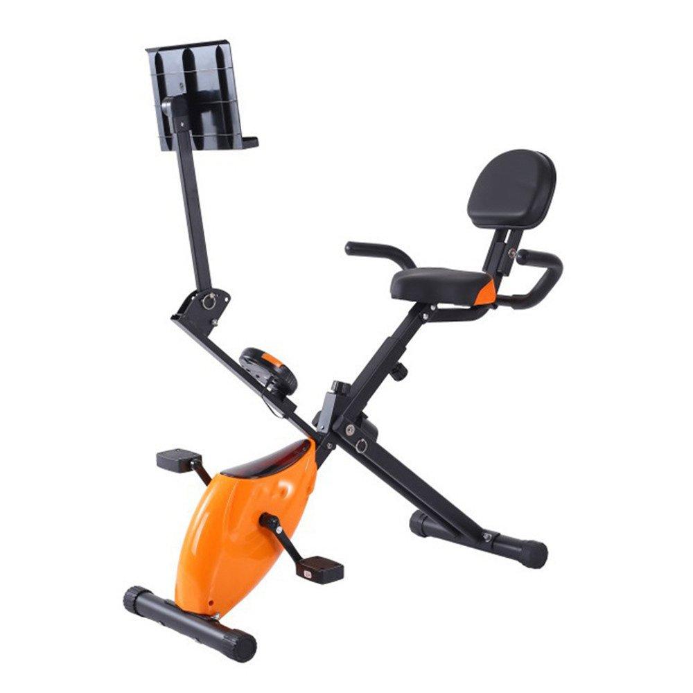 フィットネスバイク ホームオフィスフィットネスフォールディング磁気制御回転スピニング自転車多機能レイジーカー スポーツ用品 (色 : オレンジ) B07KQVNSXH  オレンジ
