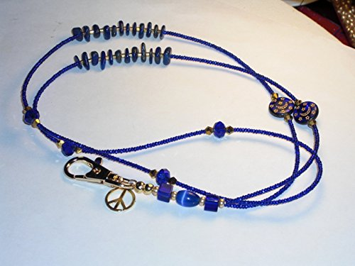Beaded Lanyard Celestial D Badge Key Chain Holder Clip Cobalt Blue Czech beads 36 ()