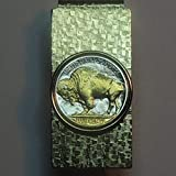 Old  U.S. Buffalo nickel - Gorgeously 2-Toned (Uniquely Hand done) Gold on Silver coin Hinged money clip for men for dad Christmas groomsmen birthday for him for women