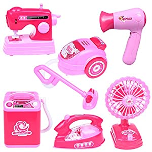 Fun Little Toys Kids Cleaning Set Toy Pretend Play Set Includes Electronic Iron, Electric Fan, Sewing Machine, Washing Machine, Toy Kitchen Toddler Cleaning Set