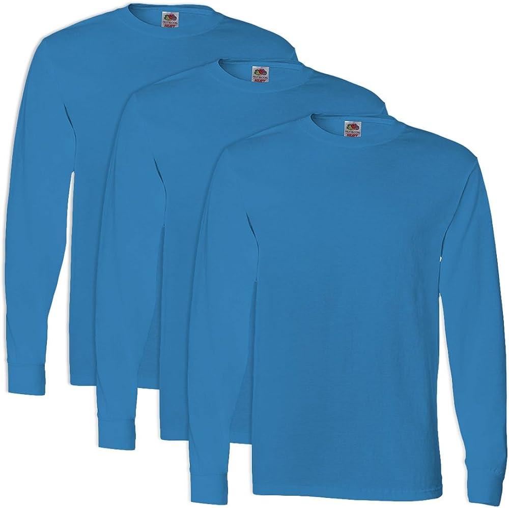 3 Pack FoTL 4930 Mens Heavy Cotton Long-Sleeve Tee M Pacific Blue