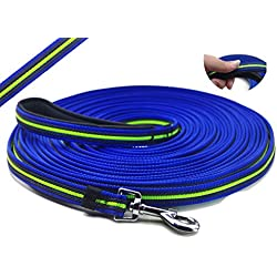 YOGADOG - Durable 15 Ft to 50 Ft Dog Tracking / Training Lead Leash - Long Lead with Padded Handle - Special Non-slip Design - For any Szie of Dogs (50ft)