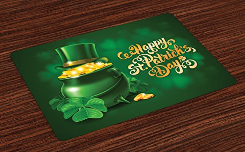 - Ambesonne St. Patrick's Day Place Mats Set of 4, Large Pot of Gold Leprechaun Hat Shamrocks Greetings 17th March, Washable Fabric Placemats for Dining Table, Standard Size, Gold Emerald