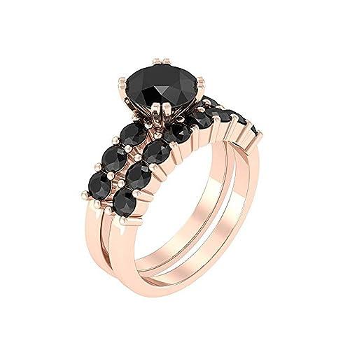 Poison Ivy inspirado, compromiso, boda anillos en 3,30 ct negro montado en