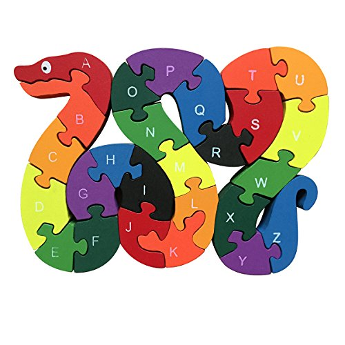 Meshion Colorful Snake Letter & Numbers Puzzles Wooden Winding Jigsaw Puzzles Toys For Preschool Educational Learning For Toddlers,Kids,Boys,Girls,3-5 Years Old or Up