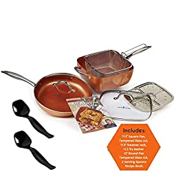 Copper Chef Heavy Duty Oven Safe Cookware Set - Square Pan w/ tempered Glass Lid - Round Pan w/ tempered Glass Lid - Steamer Rack - Fry Basket - Recipe Book, 9-Piece set.