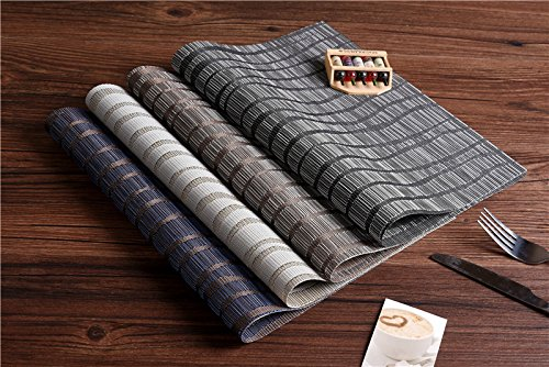 Topotdor Placemats set of 6 PVC Non-slip Insulation Stain-resistant vertical stripes Placemats for Home, Kitchen,Office and Outdoor (Set of 6, Black) by Topotdor (Image #7)