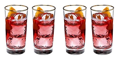 Luminarc Set of 4-pc Prestige' 11 Oz Crystal-Clear Highball Water, Soda, Juice, Cocktail Drinking Beverage Glasses with Gold Rim (11 Oz)