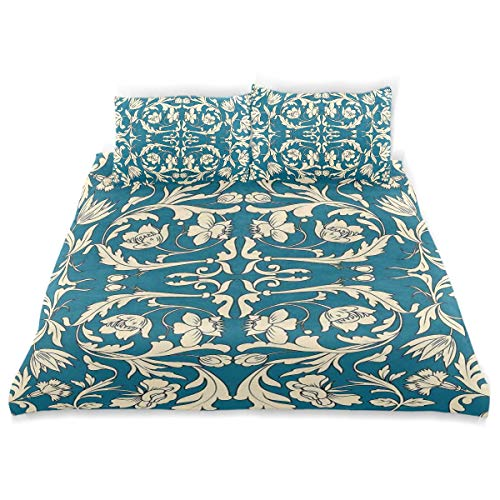 YCHY Decor Duvet Cover Set, Far Eastern Scroll Pattern with Floral Curls Asian Oriental Flourish A Decorative 3 Pcs Bedding Set with Pillowcases, Queen/Full ()