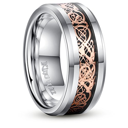 King Will DRAGON 8mm Rose Gold Plated Celtic Dragon Tungsten Carbide Wedding Band Ring Comfort Fit 6