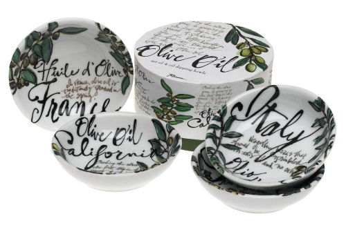 Rosanna Olive Oil Set of 4 Dipping Dishes, Gift-boxed - Bread Dipping Dishes
