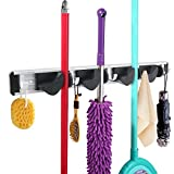 WINOMO Broom Mop Holder Organizer Garage Storage Hooks Wall Mounted 4 Position 5 Hooks for Shelving Ideas