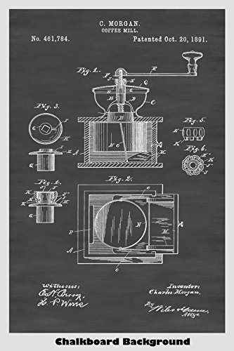 Printed Color Manual (Manual Coffee Mill Poster Patent Print Art Poster: Choose From Multiple Size and Background Color Options)