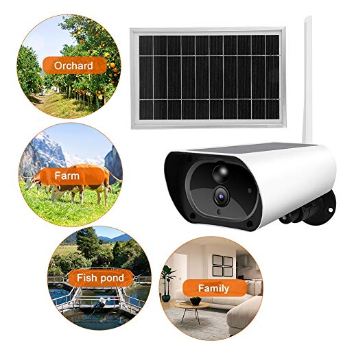 Low Power Consumption of Solar Camera,Jadpes Outdoor WiFi Wireless WiFi Solar Power 1080P Waterproof Security Surveillance Camera for Security Night Looking Detection Audio SD Card Slot(with