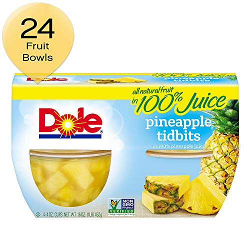 DOLE FRUIT BOWLS Pineapple Tidbits in Juice 4 Cups 6 Pack