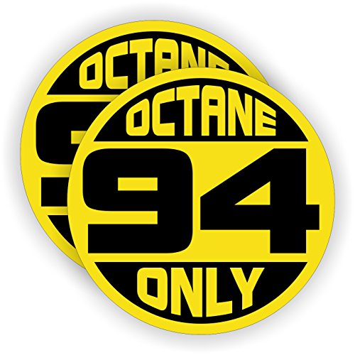 - 94 OCTANE ONLY Automotive Fuel Decals | Drag Racing Gas Door Stickers | Tuned Gasoline Pump Labels | Vinyl Markers for Car Truck SUV
