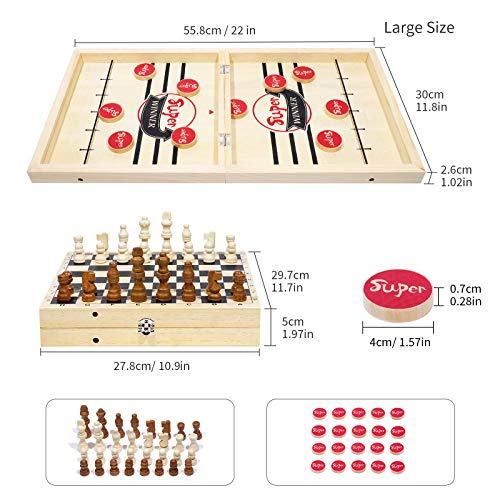 Large Fast Sling Puck Game,Wooden Chess 2 in 1 Set, Foldable Wooden Hockey Board Game, Foosball Slingshot Family Party Fun Game, Exciting Puck and Chess Board Game for Family, Children and Adults