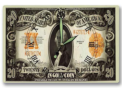 George Washington Money Clock United States Treasury Gold Coin Certificate Series 1922 20 Dollar Bill 8 x 12 inch Wall Clock US ()