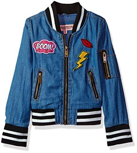 Urban Republic Little Girls' Chambray Bomber Jacket, Medium Wash, 6X by Urban Republic (Image #1)