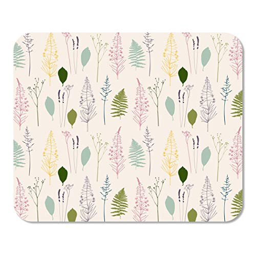 Suike Mousepad Computer Notepad Office Floral Fireweed Flowers Dill Fennel Fern Leaves Lavender Home School Game Player Computer Worker 9.5x7.9 Inch