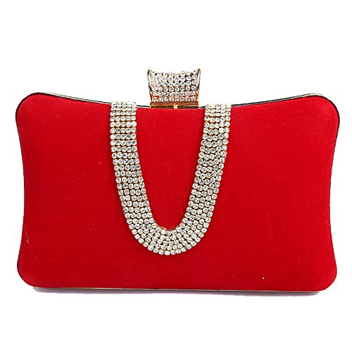 Women Color Lady Rhinestones Rabbit Purse Clutch Evening Prom With Party Lovely And Red Red Purse For Ovq75Bwvx