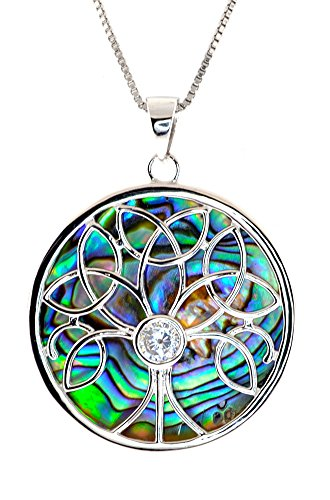 Heart Beats Sterling Silver Trinity Celtic Knot Tree Life CZ Abalone Shell Pendent Necklace