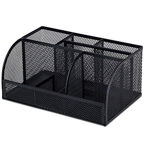 MLpus Black Metal Mesh Multi-Layer Large-Capacity Pen Holder Student Learning Desk Grid Storage Box