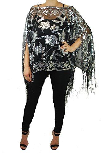 Women's Mother of the Bride 2-Way Wear Beaded Fashion Shawl Tunic Poncho Cover up Top (Black/Silver)