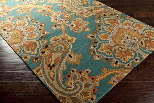 Surya Sea SEA-168 Classic Hand Tufted 100% New Zealand Wool Teal 8' x 11' Paisleys and Damasks Area Rug - 811 Cocoa