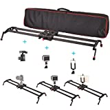 Fomito 120cm/47'' Carbon Fiber Camera Track Dolly Slider Rail System with 33lbs/15kg Load Capacity for Stabilizing Movie Film Video Making Photography DSLR Camera Nikon Canon Sony