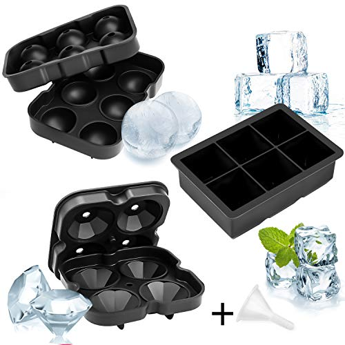 SU001 Ice Tray 2 Packs Cube Moulds Silicone Black Mould Cubes Plastic New Ball