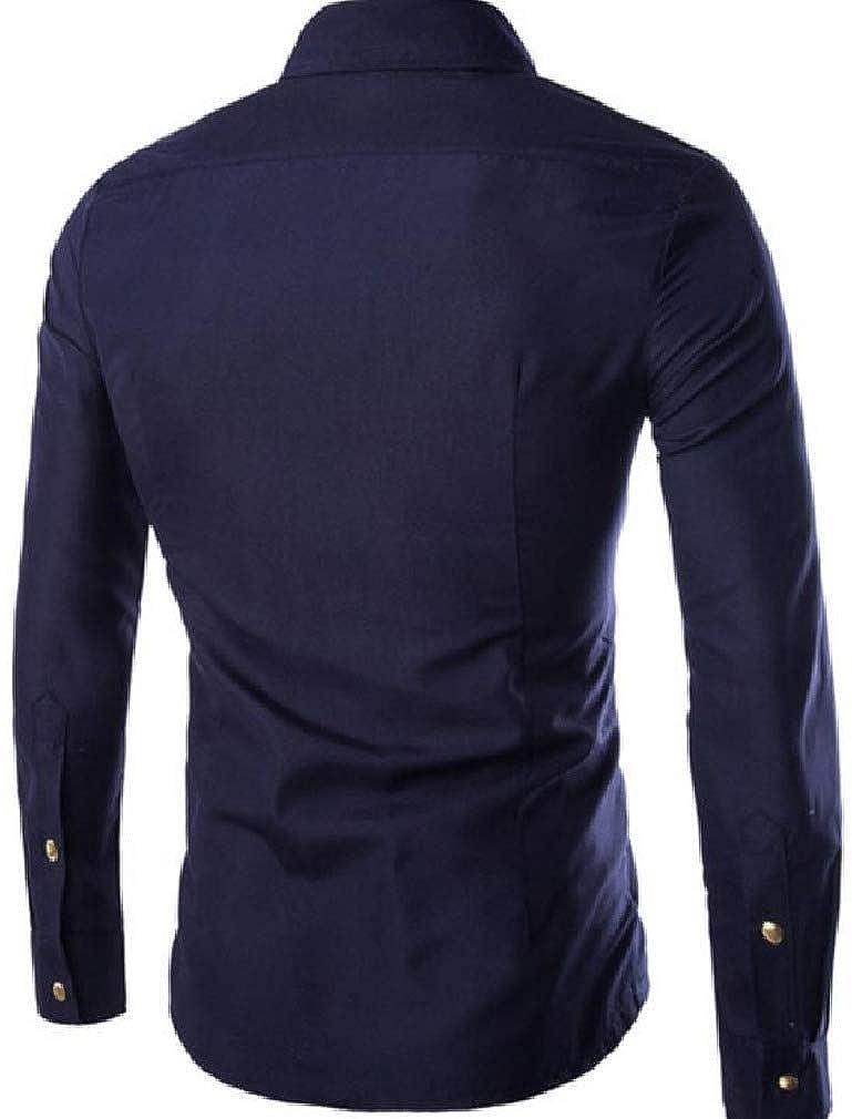 Smallwin Mens Long Sleeve Zipper Casual Button Down Shirts
