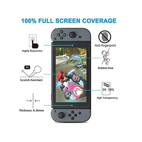 CHEPULA 13 in 1 Accessories compatible with Nintendo Switch, Carrying Case, Clear Case, Play Stand, 9H Screen Protector, Joy-Con Thumb Grip Caps(4 packs) 7