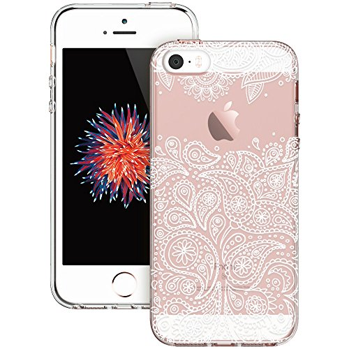 iPhone 5s Case, iPhone se Case, ESR Totem Henna Mandala Floral Pattern Design with Soft TPU Bumper+Hard PC Back Cover for iPhone 5S/SE/5 (Grenache Paisley) - Henna Phone Cases Iphone 5s