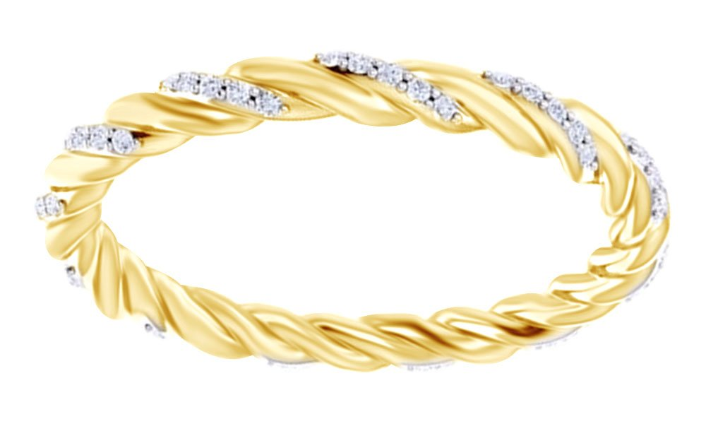 Round Cut White Natural Diamond Twist Eternity Band Ring In 14K Solid Yellow Gold (0.16 Ct),Ring Size-7