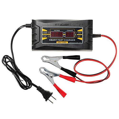 Ul 12V 10A inteligente cargador rápido de batería visualización LCD Souer para coche, motocicleta