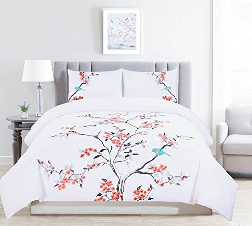 Garden Duvet Set - Superior 100% Embroidered Cotton Cherry Garden Duvet Cover 3-Piece Bedding Set; Coral - Full/Queen