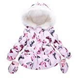 LUKYCILD Baby Girl Butterfly Pattern Outwear Winter Warm Hoodie Down Jacket Coat Pink 3-4 Years