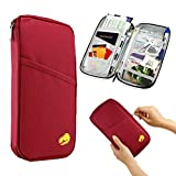 GEARONIC TM Travel Passport Organizer Wallet Purse Holder Trip Case Document Credit ID Card Cash Bag - Wine Red