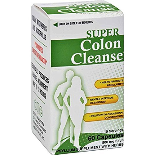 Health Plus Super Colon Cleanse Laxative Capsules, 500mg, 60 Count