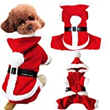 Pet Dog Puppy Teddy Christmas Clothes Santa Claus Costume Fancy Dress Fleece Cold Weather Winter Warm Hooded Sweater Jumpsuit Outfit Outwear Coat Jacket Xmas Apparel Gift for Small Dogs Puppy Cats,Red For Sale