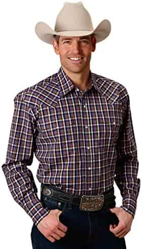 Casual Button-Down Shirts Roper West Mens Shale Plaid 100% Cotton L/S Shirt