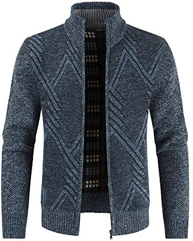 ZHBSS Lässiger Cardigan-Pullover mit Stehkragen für Męskie, schlanker Stil, Dickes Design: Odzież