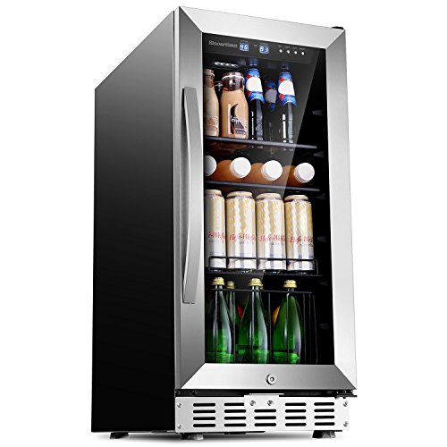 Sinoartizan Beverage Refrigerator Cooler Mini Fridge with Glass Door 15 inch Built In or Freestanding Compressor Cooler 76 Cans for Soda Beer Small Drink With 3 Removable Shelves for Office or Bar