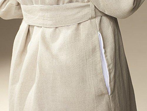 Organic Men's Linen Terry Robe Medium Natural Linen/Alpine White