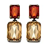 Champagne and Amber Simulated Crystal Drop Earrings in Antiqued Yellow Gold Tone