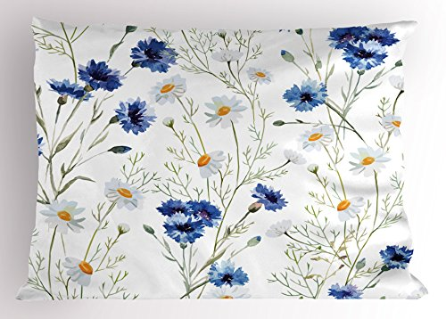 Lunarable Watercolor Flower Pillow Sham, Wildflowers and Cornflowers Daisies Blooms Flower Buds, Decorative Standard King Size Printed Pillowcase, 36